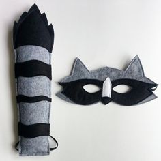 CHILD Raccoon mask and tail set Halloween by littlebitdesignshop, $38.00