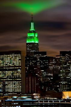 The Empire State Building is glowing green all weekend in honor of Earth Day.