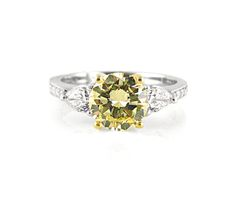 An Yellow and White Gold Yellow Diamond and Pear Shaped Diamond Trilogy Ring Diamond Rings, Diamond Engagement Rings, Pear Shaped Diamond, Three Stone Rings, Colored Diamonds, Jewelry Collection, Color Schemes, Goodies, White Gold
