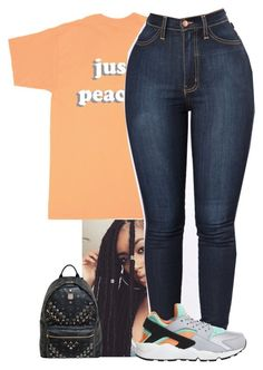 """""""Untitled #24"""" by amyajoinae ❤ liked on Polyvore featuring Just Peachy, NIKE and MCM"""