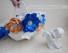 Blue Wedding, Wedding Flowers, Royal Blue Flowers, Broach Bouquet, Winter Wonderland Wedding, Flower Girl Basket, Color Schemes, Christmas Ornaments, Etsy