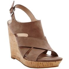 Dolce Vita Tawnie Leather Slingback Wedge Sandals ($27) ❤ liked on Polyvore featuring shoes, sandals, beige, slingback sandals, beige wedge shoes, summer shoes, summer sandals and cork wedge shoes