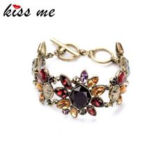Factory  Trendy Antique Gold Plated Rhinestone Statement Bracelet Jewelry Fashion Charm Bracelets Bangles for Women Oh YeahGet it here --->  http://www.servjewelry.com/product/kiss-me-factory-2016-trendy-antique-gold-plated-rhinestone-statement-bracelet-j