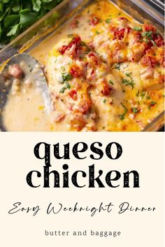 Baked Chicken Recipes, Meat Recipes, Mexican Food Recipes, Cooking Recipes, Queso Chicken Recipe, Easy Oven Baked Chicken, Lasagna Recipes, Baked Chicken Breast, Entree Recipes