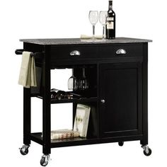 """With country style and practical storage, the Better Homes and Gardens Deluxe Black Kitchen Island provides the additional counter space and concealed storage you've always wanted for your kitchen.  This granite-top kitchen island is constructed from solid hardwood with wood veneers. Better Homes and Gardens Deluxe Kitchen Island, Black: Black finish Granite top  Dimensions: 37""""W x 19.016""""D x 35""""H"""