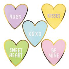 "Make a statement at your sweetheart soirée! Printed to look like candy conversation hearts with classic sayings like ""Be Mine"" and . Heart Decorations, Valentine Decorations, Valentine Heart, Valentine Sayings, Valentine Ideas, Heart Party, Converse With Heart, Heart Crafts, Mother's Day Diy"
