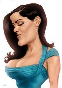 Salma Hayek by Euan MacTavish Cartoon Faces, Funny Faces, Cartoon Art, Cartoon Drawings, Caricature Artist, Caricature Drawing, Drawing Faces, Funny Caricatures, Celebrity Caricatures