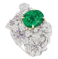 Dior 'PRÉCIEUSES' TRÈFLE RING: White gold, yellow gold, diamonds, emerald and purple sapphires.