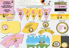 Buzz Bee The Hive DIY Printable party Includes decorations & Photo Invitation $50.00 - Paypal welcome