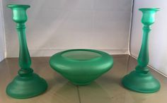 Vtg TIFFIN Console Bowl And Candlestick Set Green  Satin #Tiffin