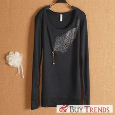 Women's New Style Rhinestone Long Sleeve T-Shirt - BuyTrends.com