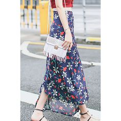Flowers Print Long Skirts With Pleat K0433