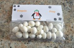 Who knew penguin poop was white? Christmas Treat Bags, Diy Christmas Gifts, All Things Christmas, Xmas, Penguin Birthday, Penguin Party, First Birthday Parties, 3rd Birthday, Birthday Ideas