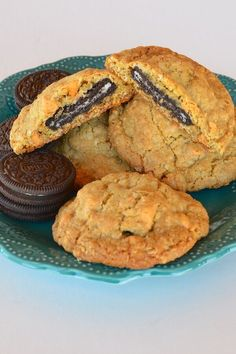 "Oreo®-Stuffed Oatmeal Scotchies | ""I made this for a weekend cabin trip and they were a huge hit - they are the size of a slider though so basically a meal replacement. A delicious meal replacement!"" #cookies #cookierecipes #bakingrecipes #dessertrecipes #cookieideas Oatmeal Scotchies, Baking Recipes, Cookie Recipes, Dessert Recipes, Drink Recipes, No Bake Cookies, Sugar Cookies, Pinterest Recipes, Desert Recipes"