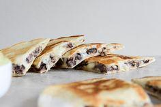 Cheesy Double Bean Quesadillas with Homemade Avocado Ranch I howsweeteats.com