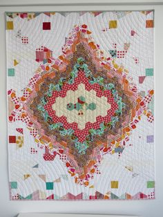 2016 Swarming Hexies quilt. Hand- and machine pieced, machine quilted. Susan Borger.