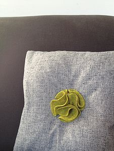 Grey Cushion With Yellow Petal Centre - soft furnishings