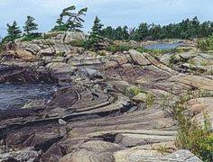 Figure 33. Folded gneiss, Gaspar Island, eastern Georgian Bay, Ontario (M.A. Rutka).