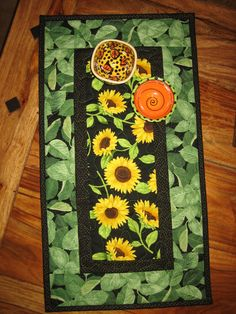 Sunflower Table Runner, Yellow Sunflowers And Green Leaves, Quilted Table  Runner, Short Table