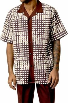 0ca3ff0cf Mens Short Sets by Montique Brown Geo Plaid 730 Casual Summer Outfits, Geo,  Button