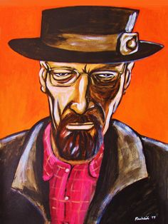 """BREAKING BAD ORIGINAL PAINTING man cave art-walter white heisenberg bryan cranston amc tv series dvd blu ray. 22x30"""" ACRYLIC PAINTING on heavy art paper. This """"READY TO FRAME"""" painting will be professionally packed and shipped in a sturdy mailing tube, insured via USPS Priority Mail. I am John Froehlich the artist. My vibrant colored artwork will become a focal point and conversation piece in your home, man cave, business or office!-I have sold thousands of paintings and commissioned..."""
