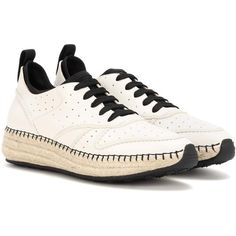 Tod's Leather Sneakers ($675) ❤ liked on Polyvore featuring shoes, sneakers, white, genuine leather shoes, leather footwear, real leather shoes, tods shoes and white leather trainers