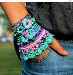 Crochet Patterns Gloves This colorful cuff is made of high quality cotton thread with resistant color . Freeform Crochet, Knit Crochet, Crochet Crafts, Crochet Projects, Crochet Gloves, Crochet Bracelet, Wrist Warmers, Bijoux Diy, Fabric Jewelry