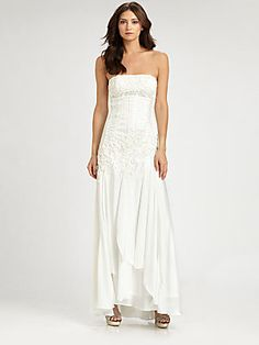 Sue Wong Strapless Embroidered Gown @Saks $528