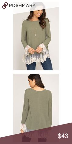 d07cb45d771 Long Sleeve Knit Top with Lace Hem Long Sleeve Knit Top with Lace Contrast  Hem in Light Olive She + Sky Tops