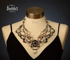 Beaded statement necklace timeless chic  One of a kind by LovliArt