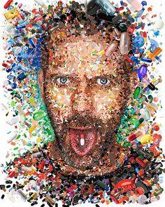 Un retrato mosaico de Hugh Laurie (Dr. Editorial Illustrations by Charis Tsevis, via Behance Art And Illustration, Photomontage, Mosaic Portrait, Hugh Laurie, House Md, Art Design, Graphic, Bunt, Steve Jobs
