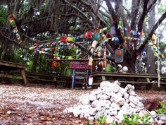 the shrine & prayer flags at the end of the rtt