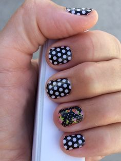Jamberry Nails Black and White Polka with Cup of Tea... Cup of Tea comes with Black and White on the same sheet | Wouldn't you just love to host a party, or sign-up to be a consultant? Let's talk! Message me or shoot me an email: Meli.Leigh4Jams@gmail.com Get 'em here: www.melichase.jamberrynails.net