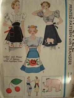 vintage aprons, love these patterns! Vintage Apron Pattern, Aprons Vintage, Apron Patterns, Vintage Sewing Patterns, Mccalls Patterns, Vintage Outfits, Vintage Fashion, Vintage Clothing, Cute Aprons