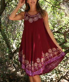 Wine & Plum Floral Embroidered Sleeveless Dress