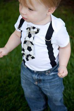 Soccer Black and White Sports Boy Tie Onesie by shopantsypants, $19.00