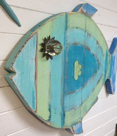 Fish Wall Art Sign Beach House Sea Glass Colours by CastawaysHall