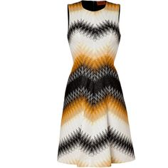 MISSONI Ivory/Black/Cinnamon Cotton-Linen-Blend Dress ($1,315) ❤ liked on Polyvore