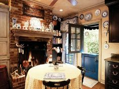 ♡ Someday I'm going to have a fireplace in my kitchen!
