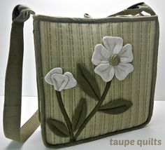 Quilted sholder purse bag with flower appliqué in by taupequilts, $65.00