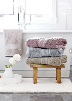 Bubbles, warm water and candlelight aren't the only ingredients for the perfect bath; you also need a plush cotton towel to dry yourself off.