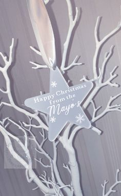 A beautiful frosted Perspex hanging Christmas star bauble personalised for you with your chosen design. Perfect touch to your christmas.  Lots of designs available, see drop down bar.  Baubles are approx 10cm width and come with a ribbon colour of your choice from either: White Grey Black  Personalisations available in either black, white or rose gold.  Custom designs are always welcome. Christmas Star, All Things Christmas, Christmas Gifts, Xmas, Or Rose, Rose Gold, Personalised Christmas Baubles, Santa Sack, Ribbon Colors
