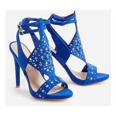 Justfab Heeled Sandals Melynda Heeled Sandal ($40) ❤ liked on Polyvore featuring shoes, sandals, blue, blue platform sandals, blue high heel sandals, ankle wrap sandals, studded sandals and high heeled footwear