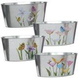 """Garden Planters 8-7/8x4½x4"""" Oval Shaped Floral Galvanized Metal Potting Pots Set of 4. Ideal for Home, Nurseries, Garden centers, Cottage, or Cabin. Add Elegance With These Decorative Indoor or Outdoor Flower,Herbs,Plant Holders. - http://tonysgifts.net/2015/05/24/garden-planters-8-78x4%c2%bdx4-oval-shaped-floral-galvanized-metal-potting-pots-set-of-4-ideal-for-home-nurseries-garden-centers-cottage-or-cabin-add-elegance-with-these-decorative-indoor-or/"""