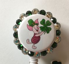 Piglet St.Patrick's Day Decorative Badge Holder with Charm by Lindasbadgeboutique on Etsy