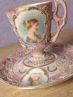 Antique pink tea cup and saucer set, vintage Ardalt Japanese tea cup, lustreware hand painted moriage tea set, victorian portrait cup
