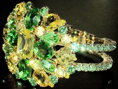 Massive Green & Yellow Czech Rhinestone Clamper Bracelet