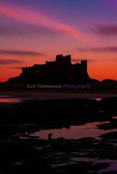 Bamburgh Castle at sunset, January 2013