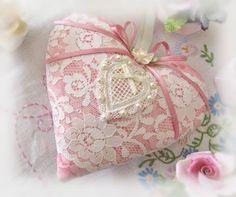 Heart Sachet 5 inch Sachet Heart  Peach Pink by CharlotteStyle