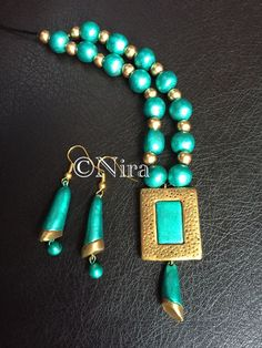 Green/Blue and Gold terracotta jewelry by NiraColors on Etsy